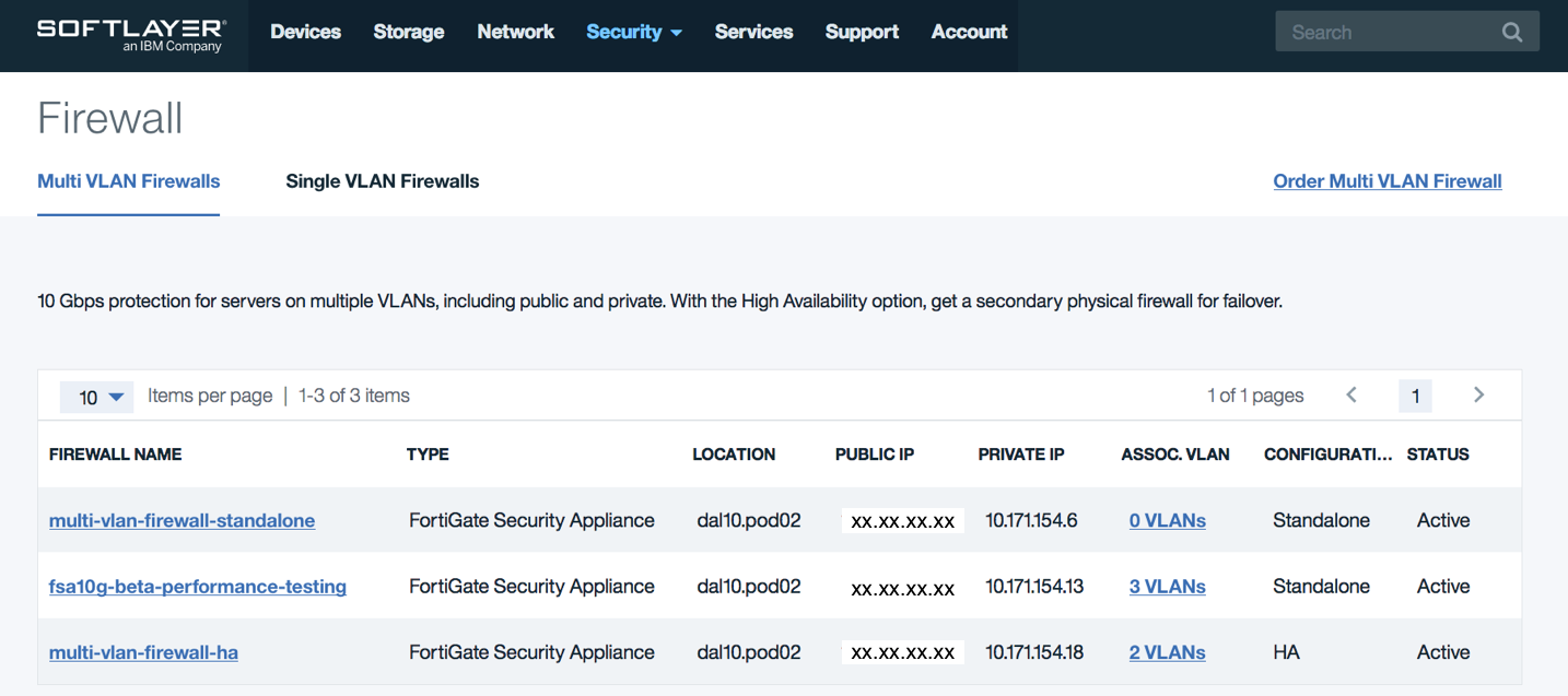 FortiGate Security Appliance 10Gbps - IBM Cloud